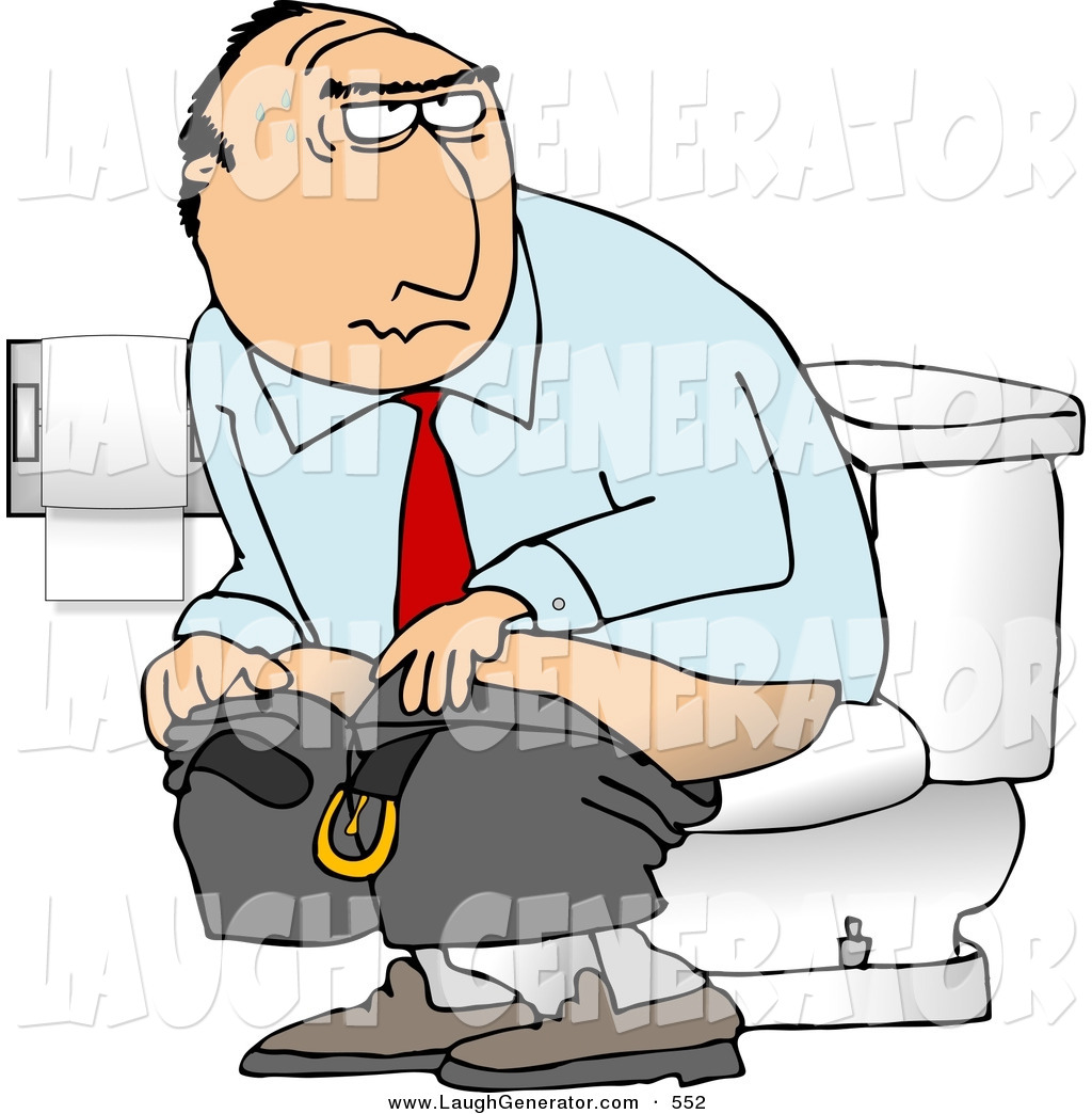Humorous Clip Art Of A White Businessman Going Poop In A Public Toilet