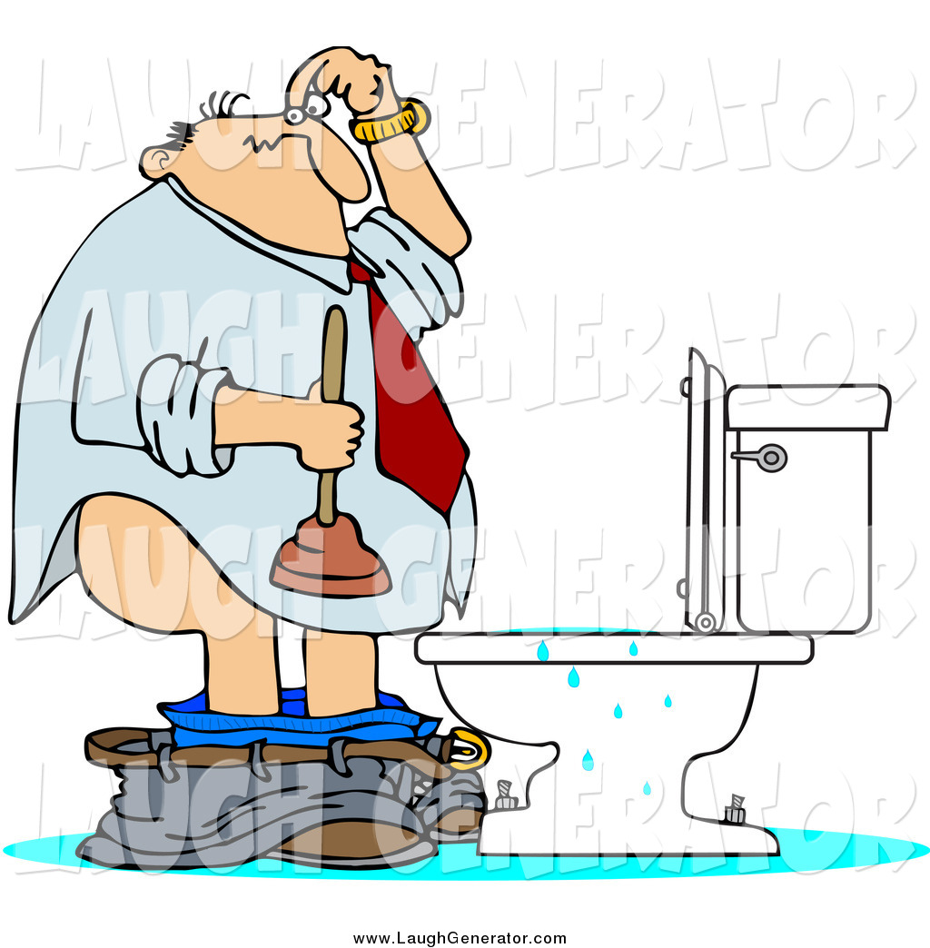 Humorous Clip Art Of A White Man With A Plunger Over A