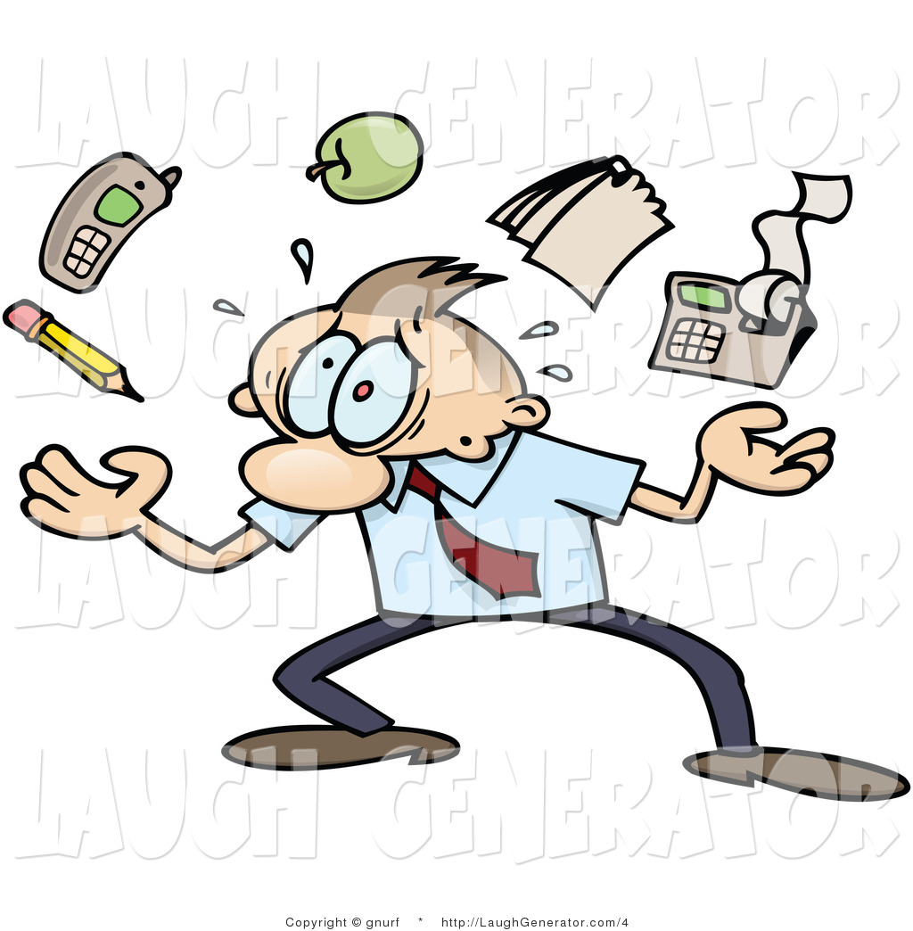 royalty stock humor designs of communications businessman juggling work tasks represented by a pencil cell phone apple notepad and calculator trying to handle all of his responsibilities