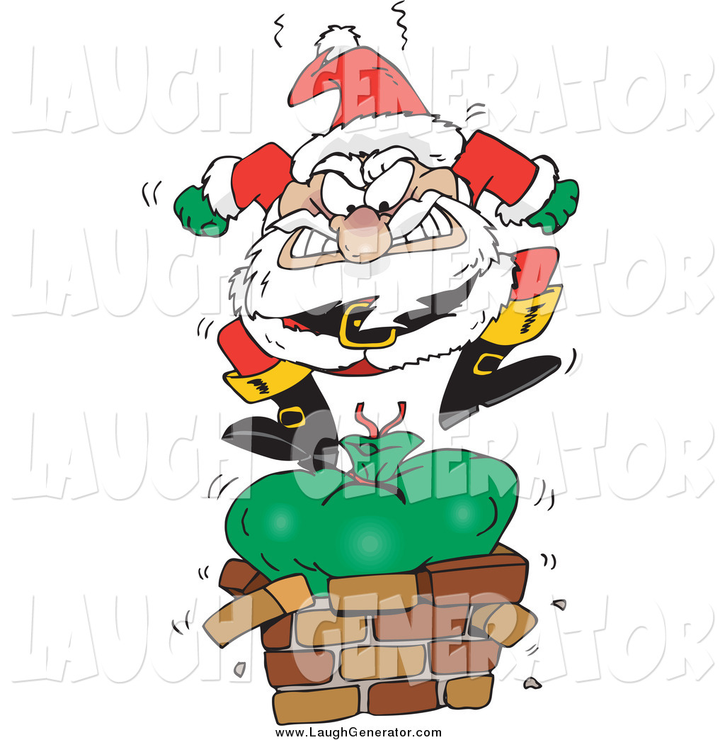 Humorous Clip Art Of Santa Angrily Stomping On His Toy
