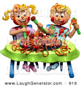 Humorous Clip Art of a 3d Boy and Girl Making a Mess During a Spaghetti Dinner While Sitting at a Table by Amy Vangsgard