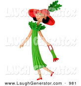 Humorous Clip Art of a 3d Celery Woman Walking with a Purse to the Left by Amy Vangsgard