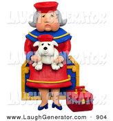 Humorous Clip Art of a 3d Grandmother Sitting on a Chest with Her Lookalike Bulldog by Amy Vangsgard