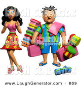 Humorous Clip Art of a 3d High Maintenance Female Having Her Husband Carry All of Her Travel Luggage by Amy Vangsgard