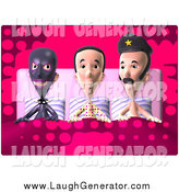 July 6th, 2014: Humorous Clip Art of a 3d White Man Waking up in Bed with a Police Man and Torturer by Julos
