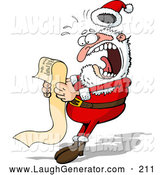 Humorous Clip Art of a Alarmed Santa Claus Screaming in Shock While Reading a Long Wish List from a Child by Holger Bogen