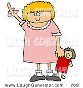 Humorous Clip Art of a Angry Little Blond Girl Holding Her Dolly and Flipping Someone off After Not Getting What She Wants by Djart