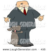 Humorous Clip Art of a Bad Dog Humping a White Businessman's Leg by Djart