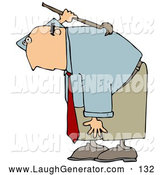 Humorous Clip Art of a Bald Caucasian Businessman Bending over and Scratching an Itch on His Back with a Back Scratcher by Djart