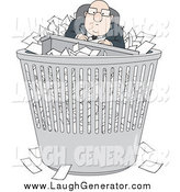 Humorous Clip Art of a Bald Caucasian Businessman with Paperwork in a Trash Bin by Alex Bannykh