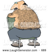 Humorous Clip Art of a Bald, Middle Aged Caucasian Man with a Very Hairy Back Sitting Backwards in a Chair by Djart