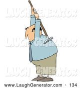 Humorous Clip Art of a Bald White Businessman Scratching an Itch on His Back with a Large Garden Rake by Djart