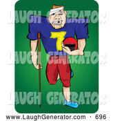 November 7th, 2013: Humorous Clip Art of a Banged up Grinning Injured Football Player with Missing Teeth, a Bandage on His Head and an Injured Leg, Carrying His Helmet and Leaning on a Crutch by Paulo Resende