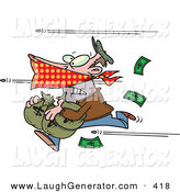 Humorous Clip Art of a Bank Robber Man Running with Money, Bullets Being Shot at Him by Toonaday