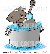 Humorous Clip Art of a Bathing Brown Dog Scrubbing in a Tub by Djart