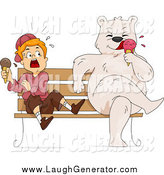 Humorous Clip Art of a Bear Eating Ice Cream on a Bench by a Scared White Boy by BNP Design Studio