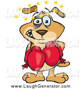 Humorous Clip Art of a Beat up Dog with a Black Eye, Seeing Stars Circling Above His Head During a Boxing Match by Dennis Holmes Designs