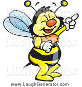 Humorous Clip Art of a Bee Character Laughing and Pointing by Dennis Holmes Designs