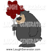 Humorous Clip Art of a Big Bear Holding a Bunch of Red Heart Shaped Valentine's Day Balloons by Djart