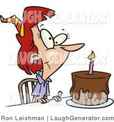 Humorous Clip Art of a Birthday Woman with Candle on a Chocolate Slice of Birthday Cake by Toonaday