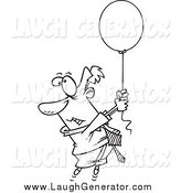 Humorous Clip Art of a Black and White Businessman Floating Away with a Balloon by Toonaday