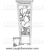 Humorous Clip Art of a Black and White Businessman Working in a Tiny Telephone Booth by Toonaday