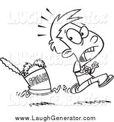 January 20th, 2014: Humorous Clip Art of a Black and White Can of Spinach Chasing a Boy by Toonaday