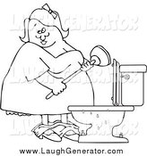 Humorous Clip Art of a Black and White Chubby Woman with a Plunger over a Clogged Toilet by Djart