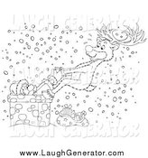 Humorous Clip Art of a Black and White Reindeer Rescuing Santa from a Chimney in the Snow by Alex Bannykh