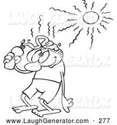 Humorous Clip Art of a Black and White Toon Guy Putting Sun Block on His Head by Gnurf
