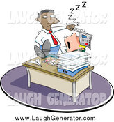 July 3rd, 2014: Humorous Clip Art of a Black Boss Discovering a White Employee Sleeping on the Job by Jtoons