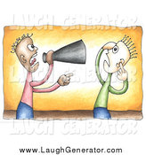 Humorous Clip Art of a Black Businessman Shouting Through a Megaphone at a White Employee by C Charley-Franzwa