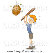 Humorous Clip Art of a Blindfolded Red Haired White Boy Whacking a Beehive like a Pinata by BNP Design Studio