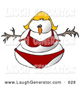 Humorous Clip Art of a Blond Female Snowman Snow Woman in a Red Bikini Looking Forward by Djart