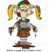 Humorous Clip Art of a Blond Girl Scout Covered in Chocolate by Dennis Holmes Designs