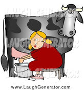 Humorous Clip Art of a Blond White Woman Sitting on a Bench and Getting Squirt in the Face While Milking a Black Cow by Djart