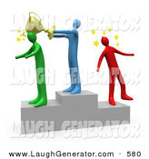 Humorous Clip Art of a Blue Man Standing on the Winning Teir of a Podium and Whacking the Runner up with a Golden Trophy Cup After Hitting the 3rd Place Runner up on the Head by 3poD