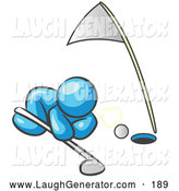 Humorous Clip Art of a Blue Man Trying to Blow a Golf Ball into the Hole by Leo Blanchette