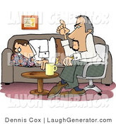 Humorous Clip Art of a Bored Psychiatric Patient Falling Asleep to Psychiatrist As He Psychoanalyzes by Djart