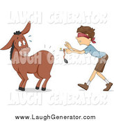 Humorous Clip Art of a Boy About to Pin a Tail on a Scared Donkey by BNP Design Studio