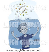 Humorous Clip Art of a Boy Underwater, Hiding from Bees by BNP Design Studio