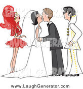 Humorous Clip Art of a Bride and Groom Kissing at Their Vegas Wedding Ceremony by Maria Bell