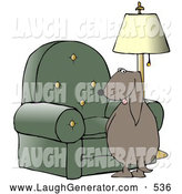 Humorous Clip Art of a Brown Bad Dog Looking Back over His Shoulder While Peeing on a Chair in a Living Room by Djart