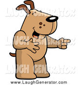 Humorous Clip Art of a Brown Dog Laughing and Pointing by Cory Thoman