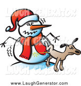 Humorous Clip Art of a Brown Dog Peeing on a Mad Snowman by Zooco