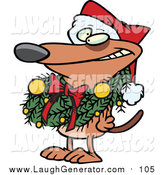 Humorous Clip Art of a Brown Dog Wearing a Santa Hat and Grinning, Decked out in a Christmas Wreath Which Is Hanging Around His Neck by Toonaday