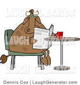 Humorous Clip Art of a Brown Male Cow Reading the Daily Newspaper with Coffee by Djart