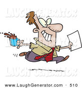 Humorous Clip Art of a Brown Nosing Caucasian Business Man Fetching Coffee and Papers for the Boss by Toonaday