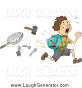 Humorous Clip Art of a Brunette White Boy with a Magnet in His Pack, Running from Items by BNP Design Studio