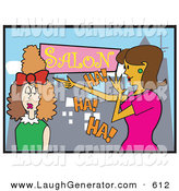 Humorous Clip Art of a Brunette Woman Laughing at Another Woman Who Got a Bad Hairstyle in a Salon by Andy Nortnik